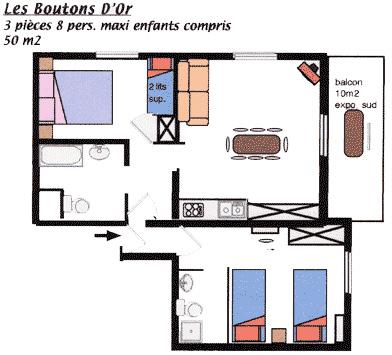 Plan de l'appartement Les Boutons d'Or