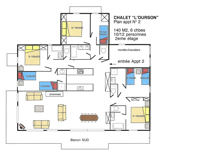Location t la rosi re appartement dans chalet ourson 2 for Plan appartement 3 chambres