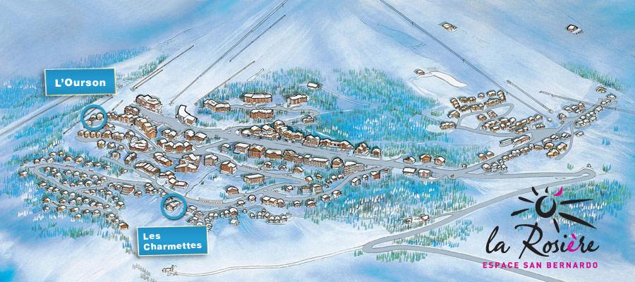 Plan de situation des Chalets Chermettes et Ourson dans La Rosière
